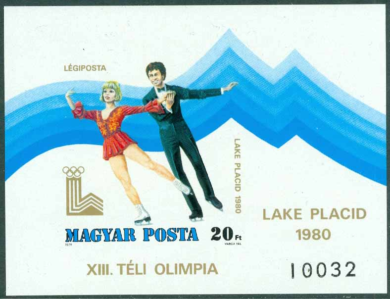 Ungern - M BL 140 B OS i Lake Placid 1980, block **
