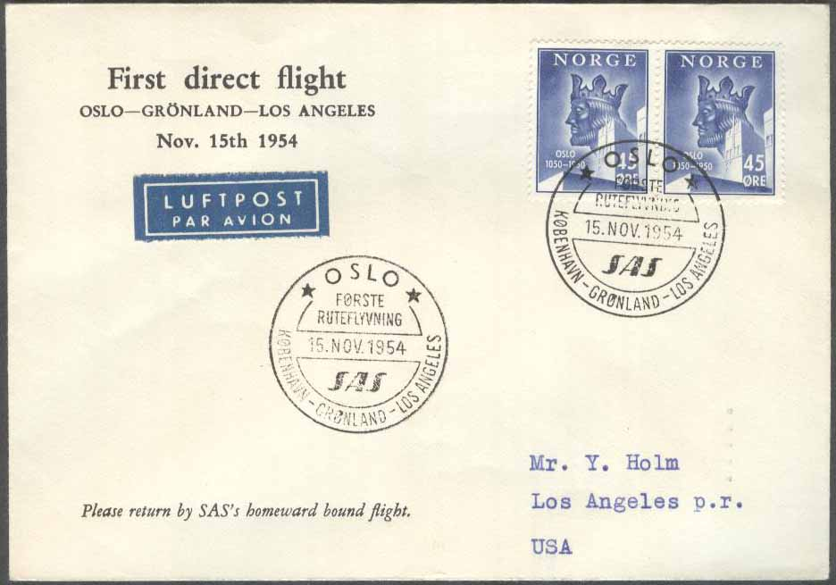 Norge - 1954-11-15 - First direct flight Oslo - Grönland - Los Angeles