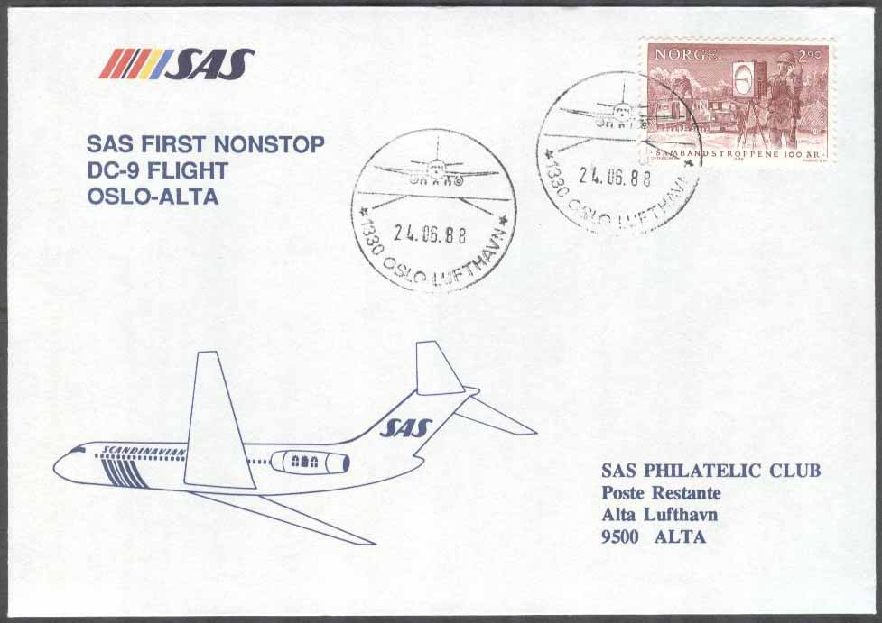 Norge - 1988-06-24 - SAS First Nonstop DC-9 Flight Oslo - Alta