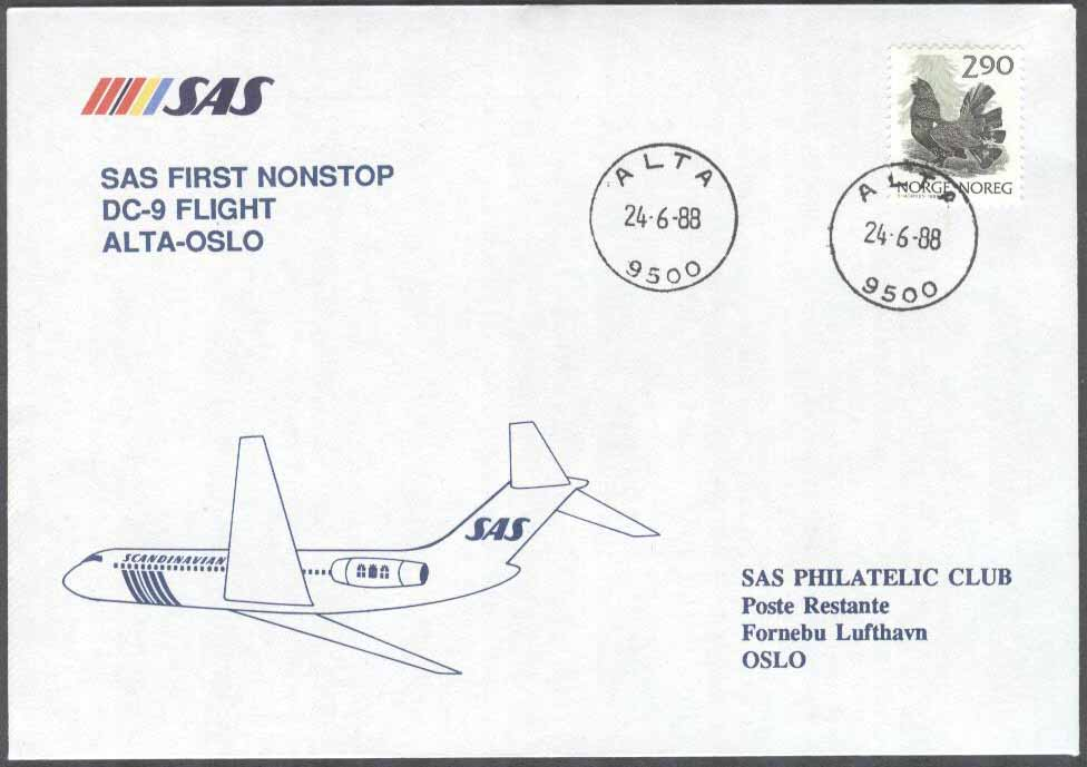 Norge - 1988-06-24 - SAS First Nonstop DC-9 Flight Alta - Oslo