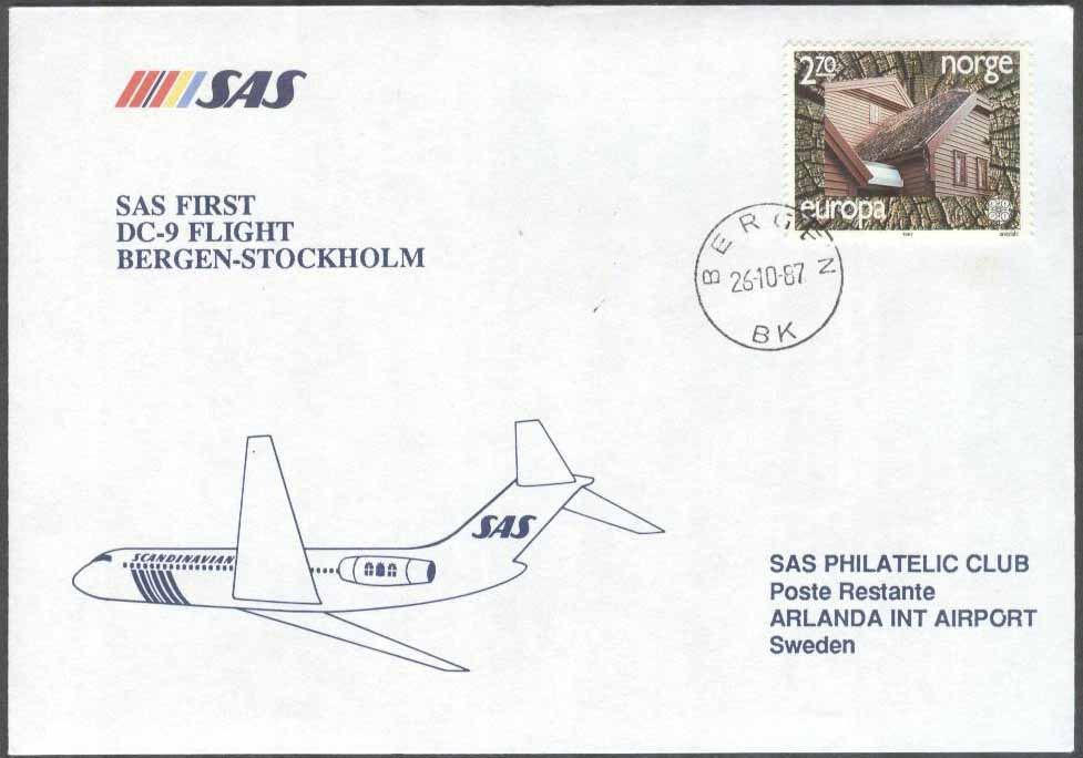 Norge - 1987-10-26 - SAS First DC-9 Flight Bergen - Stockholm
