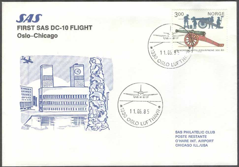 Norge - 1985-06-11 - SAS First DC-10 Flight Oslo - Chicago