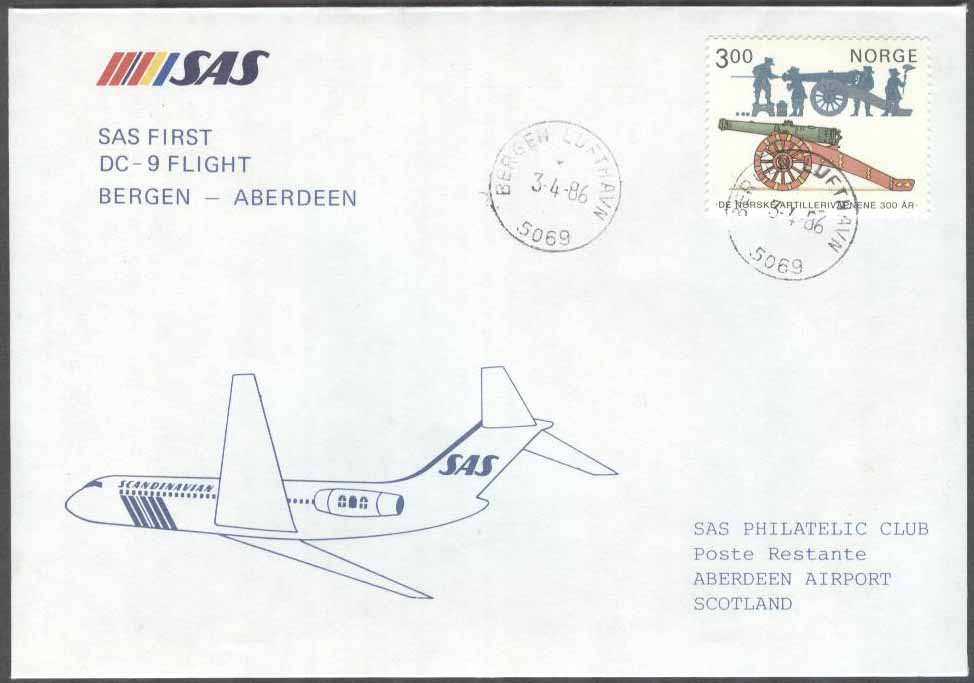 Norge - 1986-04-03 - SAS First DC-9 Flight Bergen - Aberdeen