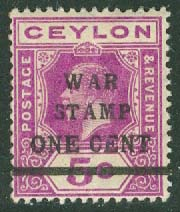 Ceylon - M  181 George V, påtryck WAR STAMP ONE CENT *