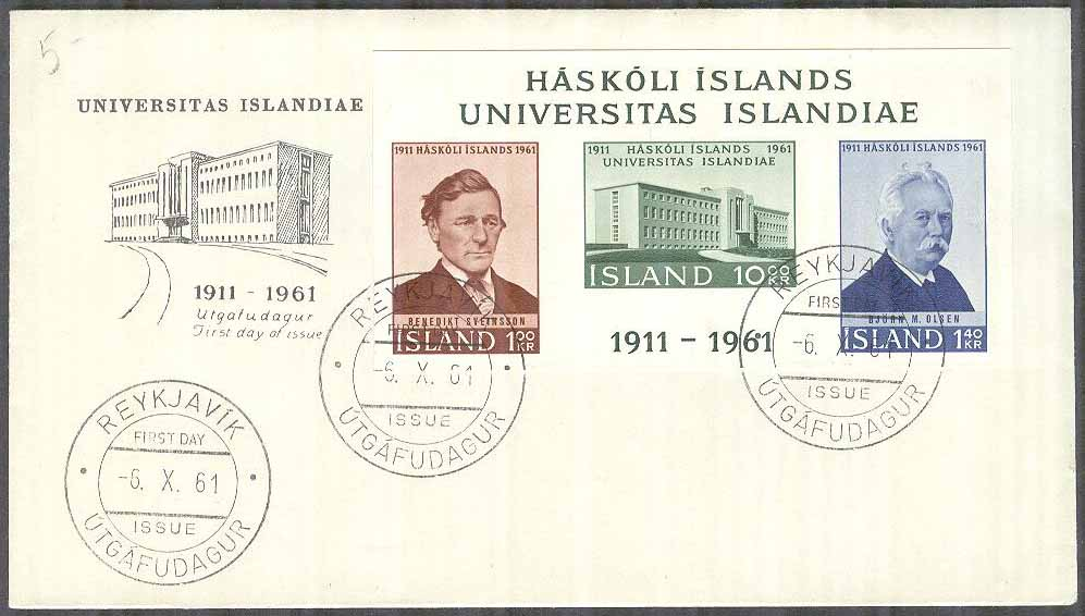 Island - FDC 1961-10-06 - Islands Universitet 50 år, Block Vinjett 8