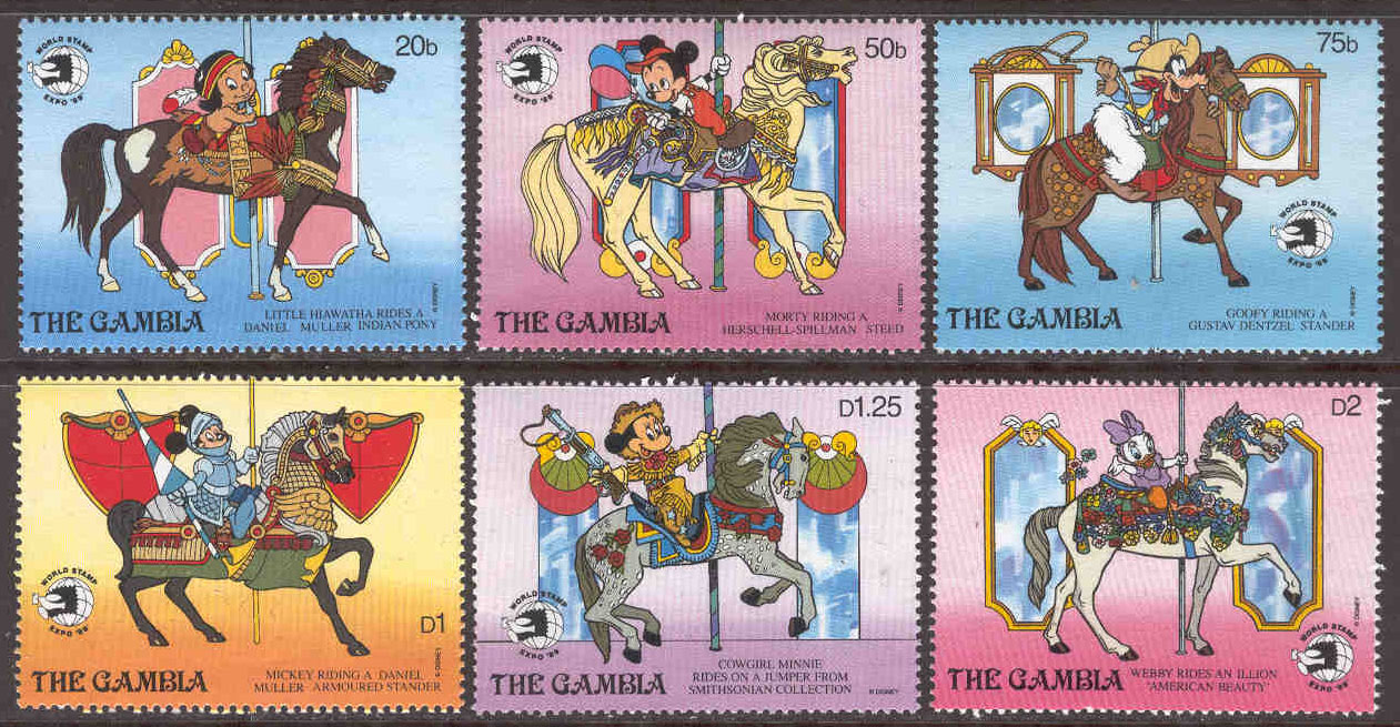 Gambia - M  924-929 Disneyfigurer, World Stamp Expo 1989, 6 ol**