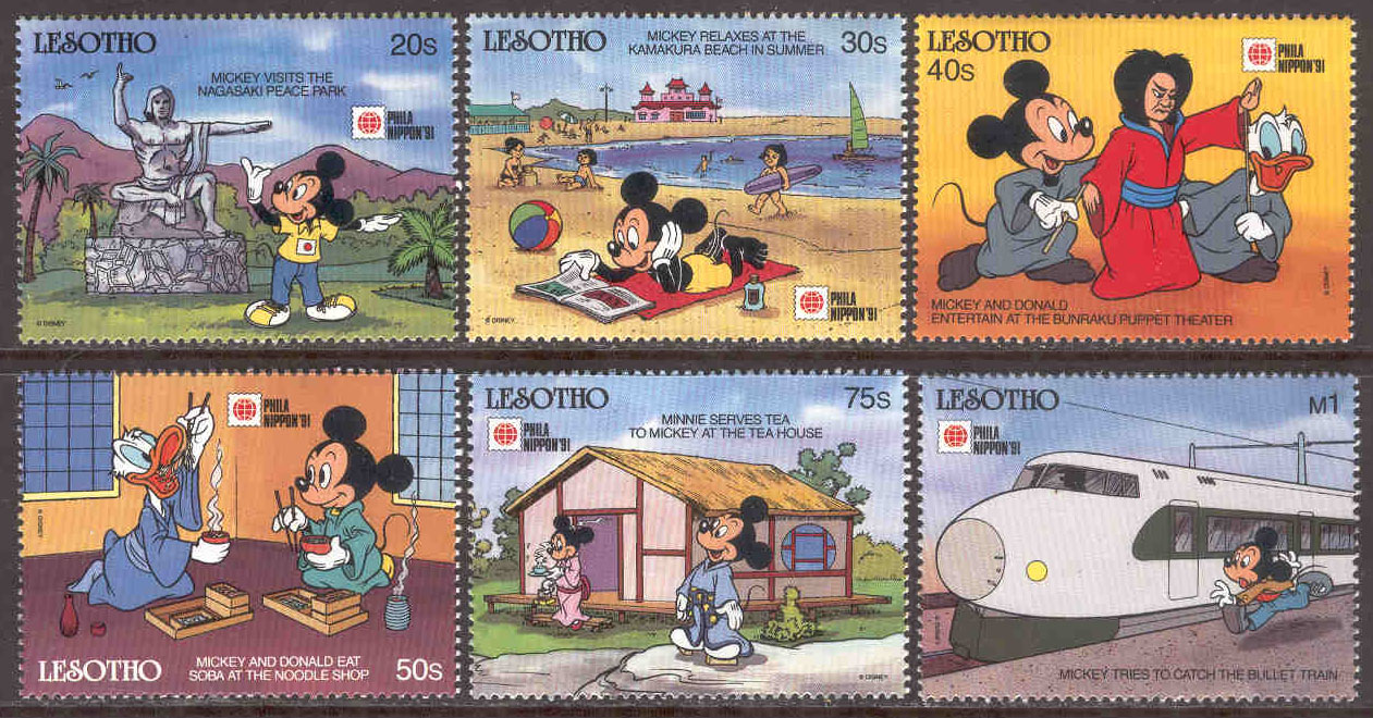 Lesotho - M  876-881 Disneyfigurer i Japan, Philanippon 91, 6 ol**