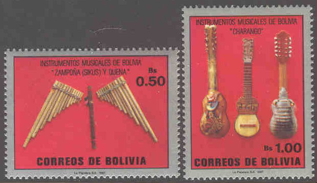 Bolivia - M 1063-1064 Traditionella musikinstrument, 2 kpl**