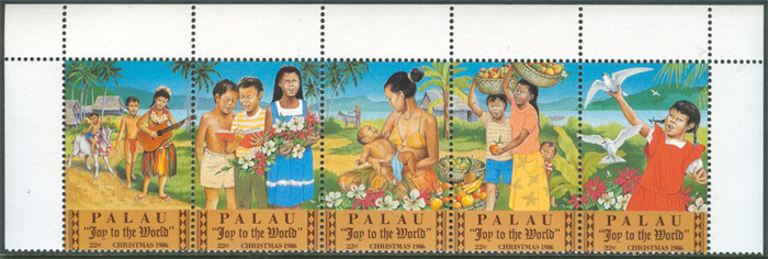 Palau - M  163-167 Jul 1986 - Julsång - Joy to the world, 5-strip **