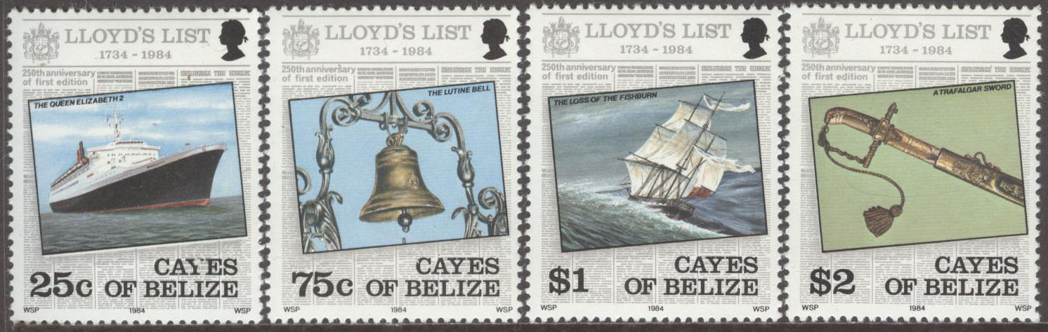 Belize - Cayes of Belize - M   10-13 Fartyg - Lloyd's List 250 år, serie 4 kpl **
