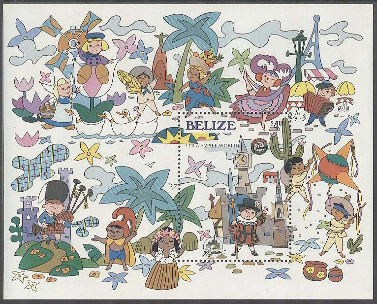 Belize - M BL  74 Jul 1985 - Tecknat - Utställning It's a small world, Block **