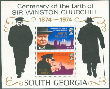 South Georgia - M BL   1 Sir Winston Churchill 100 år, fint Block **