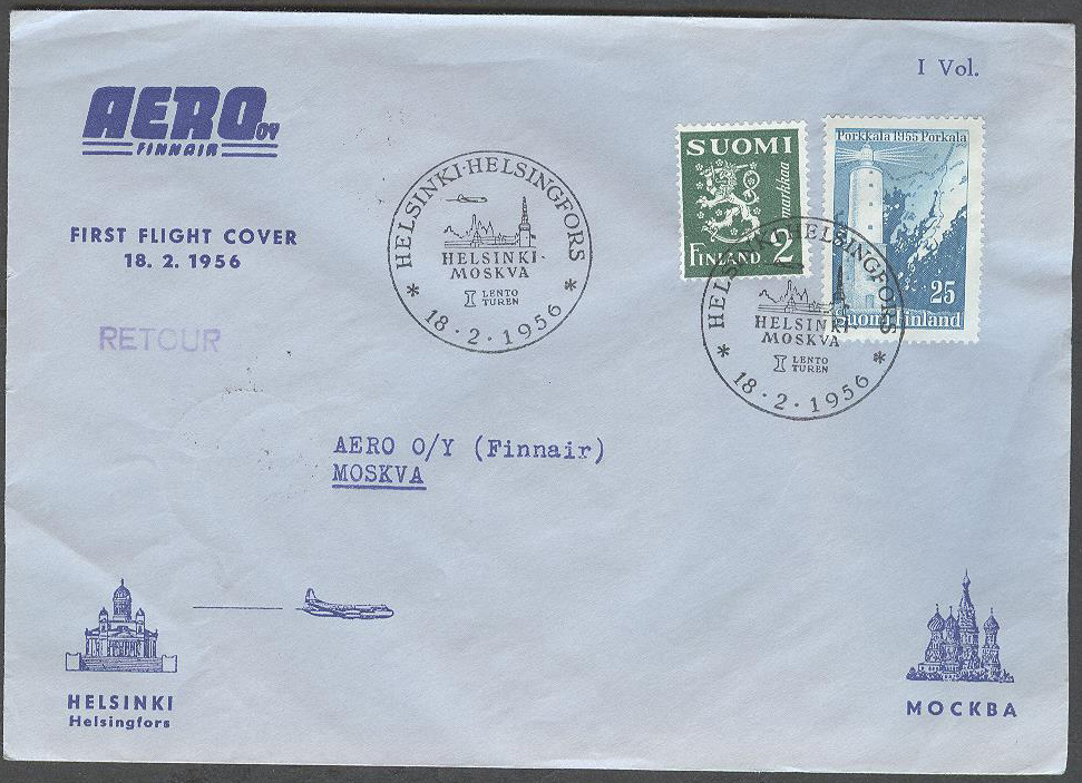 Finland - 1956-02-18 - Finnair First Flight Cover Helsinki - Moskva