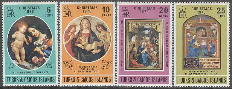 Turks & Caicos Islands - M  359-362 Jul 1976 - Konst bla Jungfru med Barn, 4 kpl **