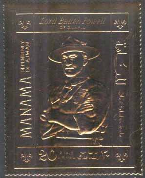 Manama - M  261 A Scouting - Lord Baden-Powell - Guldtryck, 1 kpl **