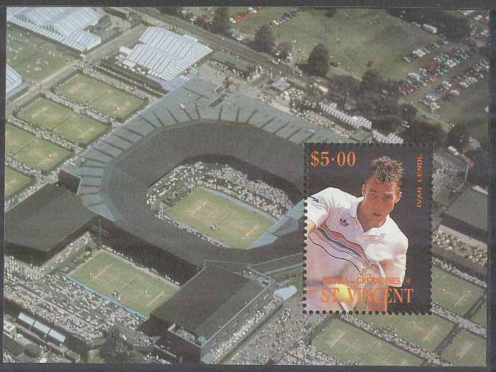 Bequia Grenadines of St. Vincent - M BL  10 Tennis - Ivan Lendel, Block **