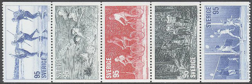 Sverige - F  993-997 Motionsidrott, 5-strip kpl **