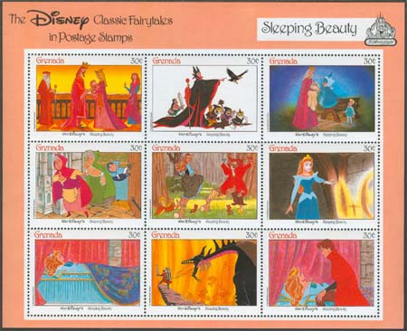 Grenada - M 1663-1671 Disney - Sleeping Beauty, fint Miniark **