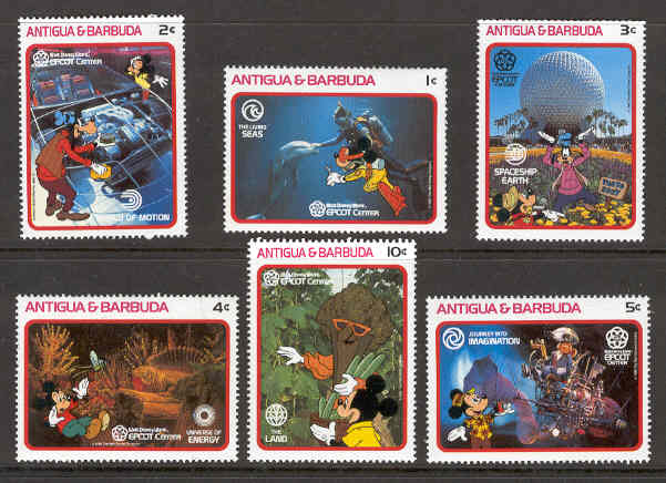 Antigua & Barbuda - M 1126-1131 Disney - Musse Pigg i Epcot Center, 6 ol**