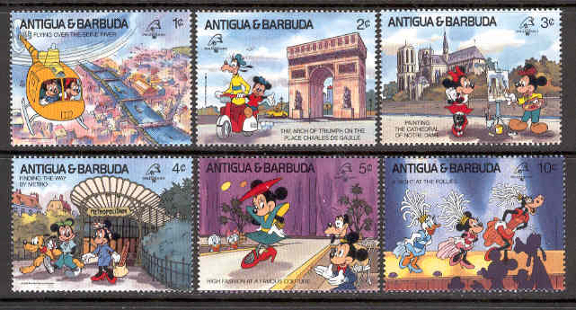 Antigua & Barbuda - M 1242-1247 Disney - Musse i Paris, 6 ol**