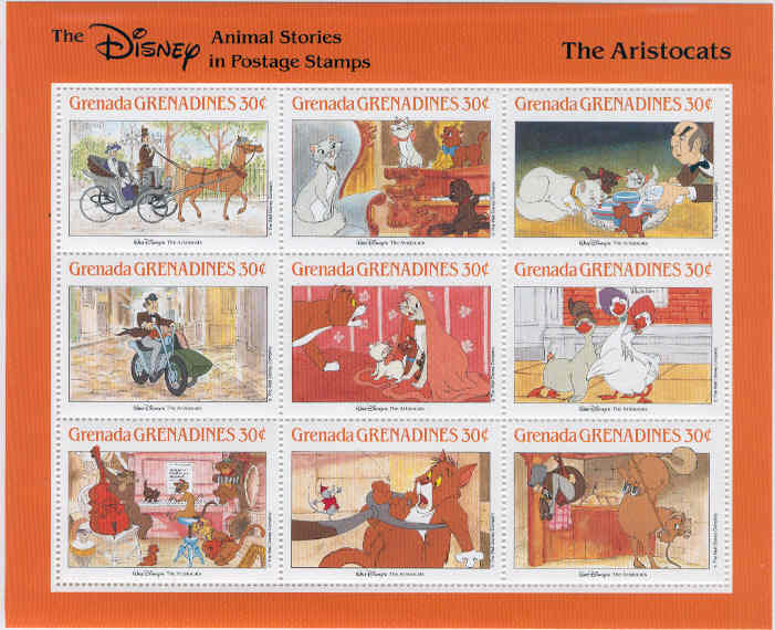 Grenada Grenadines - M 1018-1026 Disney - The Aristocats, vackert 9-block**