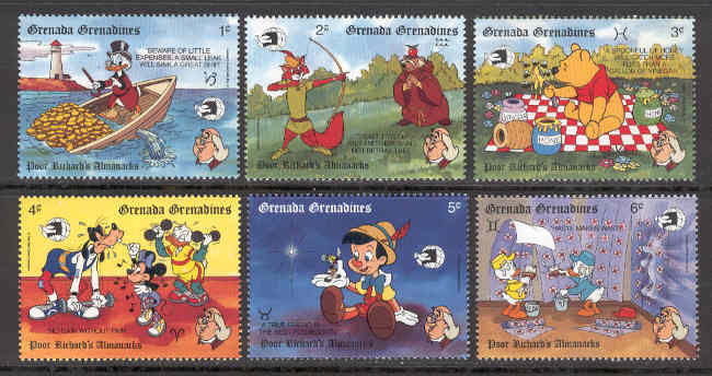 Grenada Grenadines - M 1226-1231 Disney - Poor Richards almanacks, 6 ol**