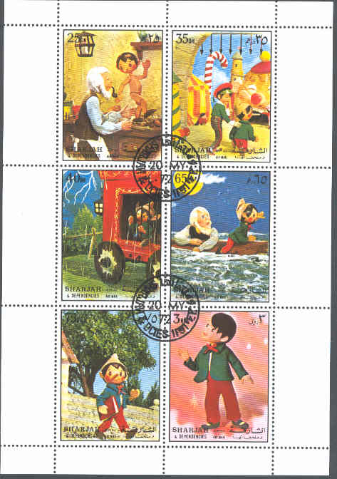 Sharjah - M 1258-1263 Disney - Pinocchio, vackert 6-block kpl