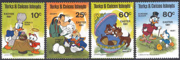 Turks & Caicos Islands - M  532-535 Disney - Disneyfigurer firar påsk, 4 kpl**