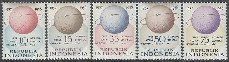 Indonesien - M  224-228 Internationella Geofysiska året 1957/1958, serie 5 kpl **