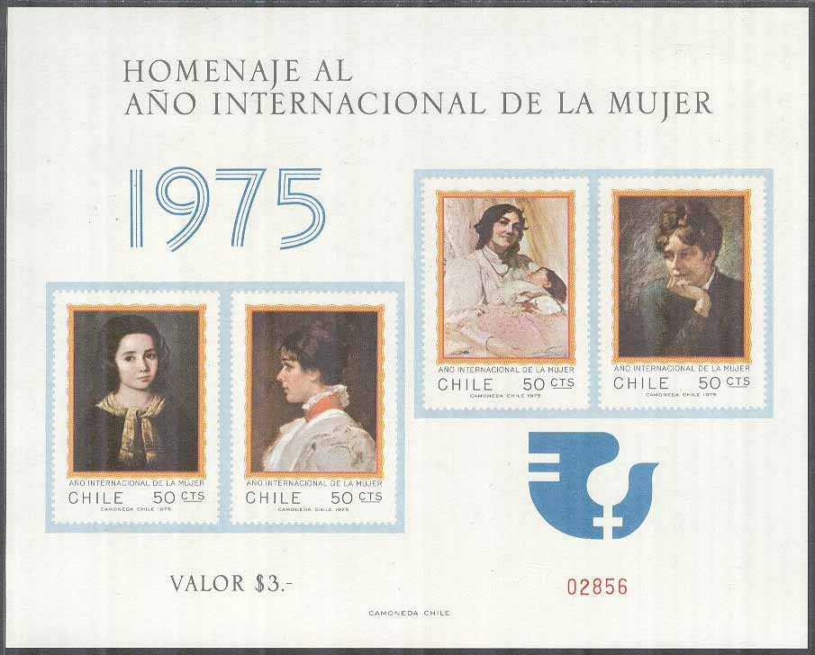 Chile - M  842-845 Internationella Kvinnoåret 1975, Minnesark kpl **