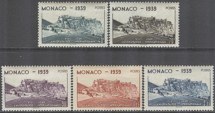 Monaco - M  200-204 Sport - Internationella Universitetstävlingar 1939, 5 kpl *