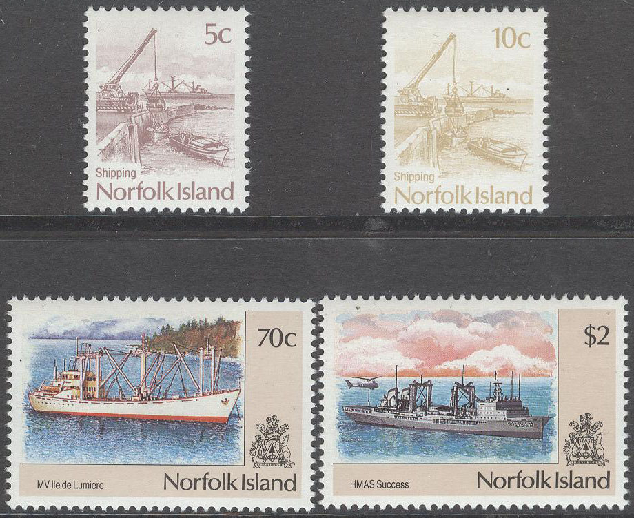 Norfolk Island - M  480-483 Fartyg & Hamnen i Kingston, serie 4 kpl **