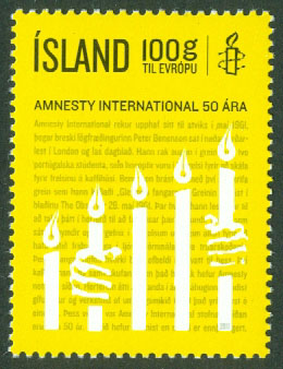 Island - F 1348 Amnesty International 50 år, 1 kpl **