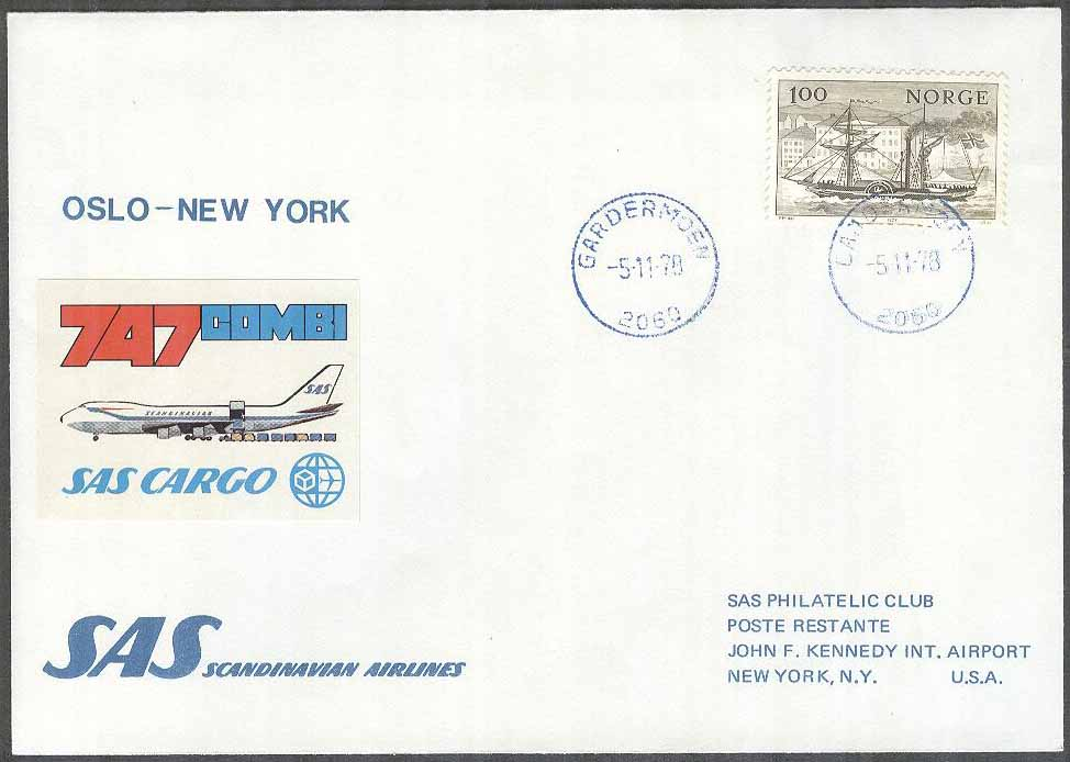 Norge - 1978-11-05 - First SAS 747 - Combi Flight Oslo - New York