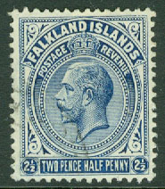 Falkland Islands - M   28 a Kung George V, 2'½ P stpl