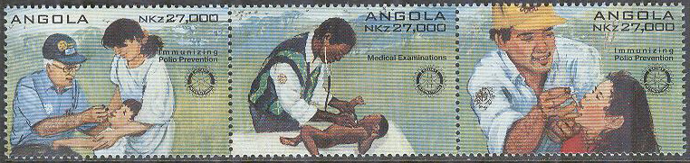Angola - M  992-994 Rotary International 90 år I - Läkare, 3-strip kpl **