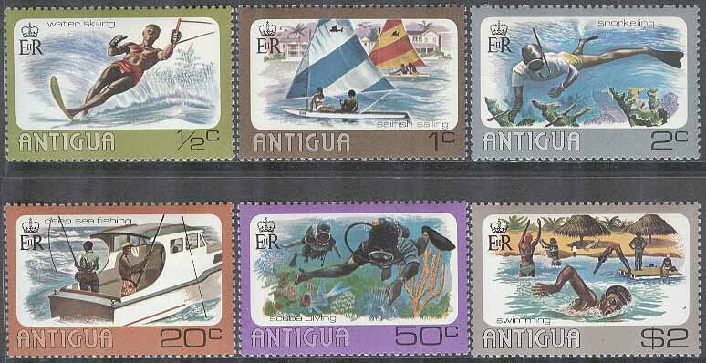 Antigua & Barbuda - M  432-437 Vattensport bla Segling & Fiske, 6 kpl **