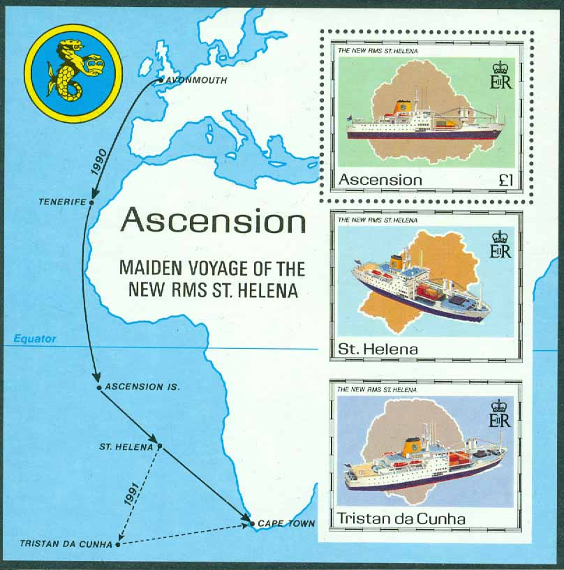 "Ascension - M BL  22 Nya RMS ""St. Helena"" tas i bruk, block **"