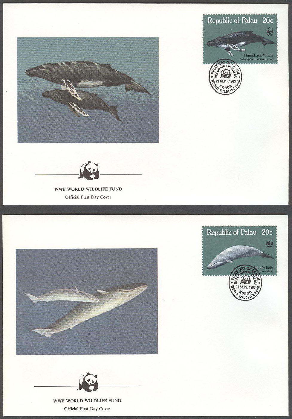 Palau - FDC 1983-09-21 - Valar - Naturskydd - WWF, serie 4 kpl