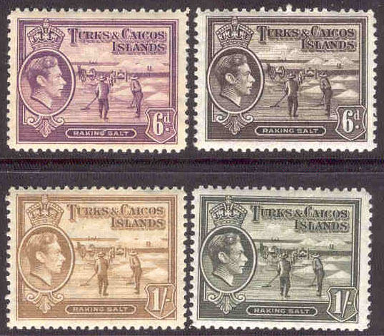 Turks & Caicos Islands - M  125-128 Kung Georg VI, saltrakare, 4 ol *