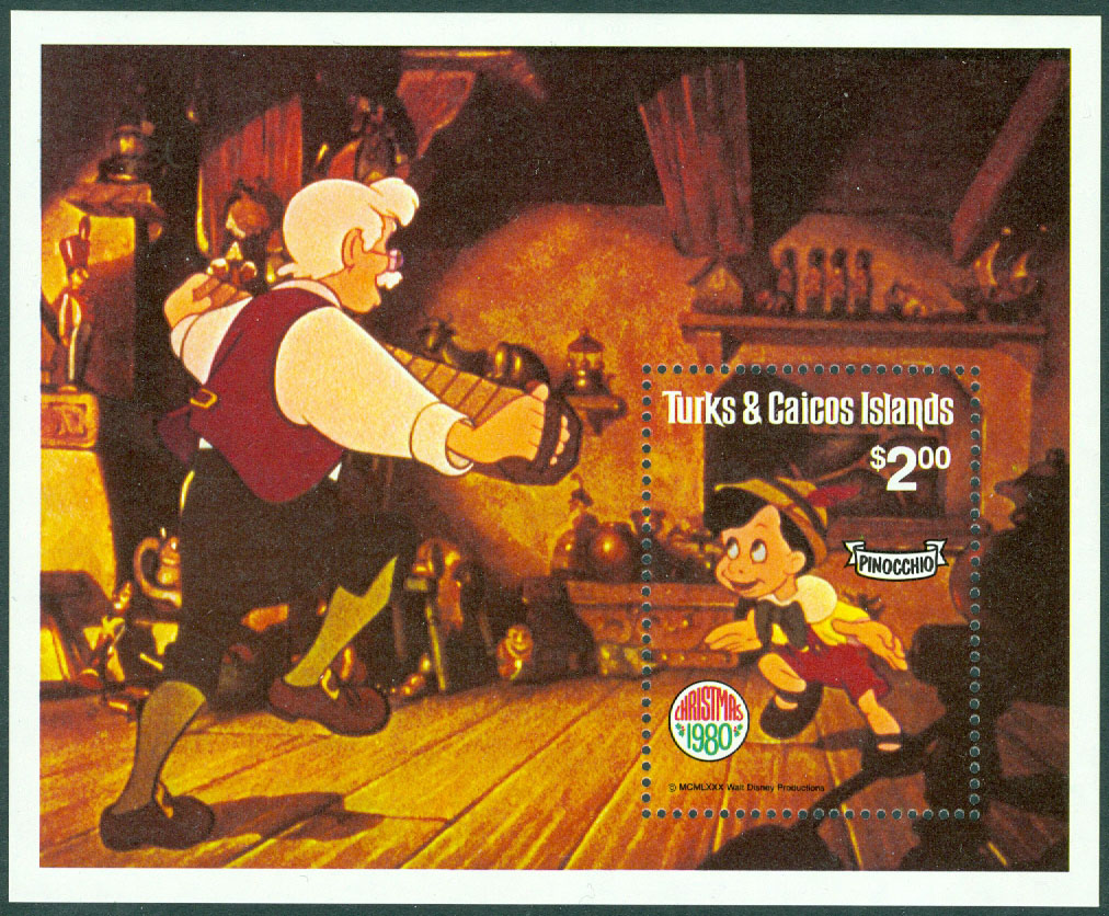 Turks & Caicos Islands - M  512 (BL 25) Pinocchio, block **