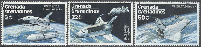Grenada Grenadines - M  255-257 Rymd - Space Shuttle, 3 olika stpl