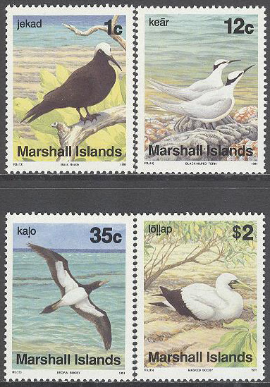 Marshall Islands - M  381-384 Fåglar bla Mindre noddy, serie 4 kpl **