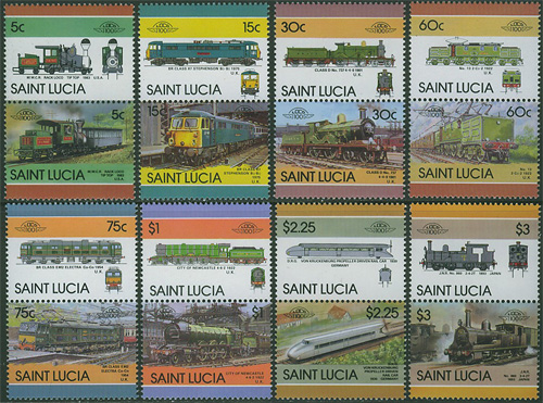 St. Lucia - M  814-829 Järnväg - Lok bla City of Newcastle, 16 kpl **