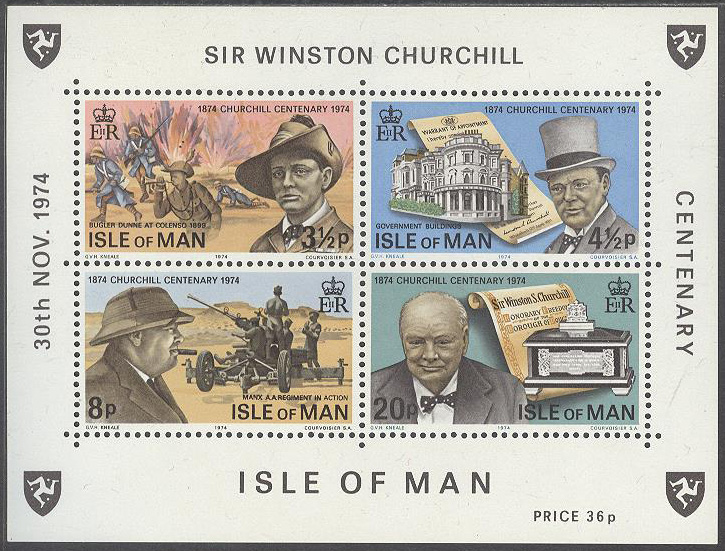 Isle of Man - M BL   1 Sir Winston Churchill 100 år - Politiker, Block **