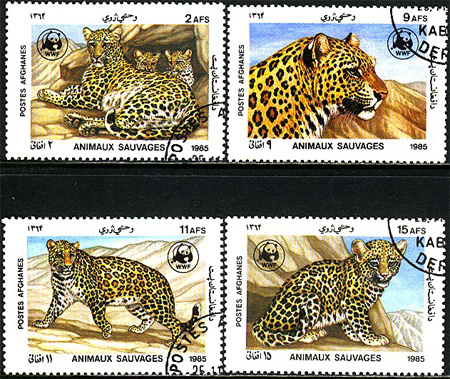 Afghanistan - M 1453-1456 Leopard - Naturskydd - WWF, fin serie 4 kpl