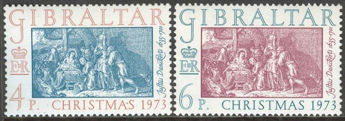 Gibraltar - M  306-307 Jul 1973 Jesu Födelse, 2 kpl **