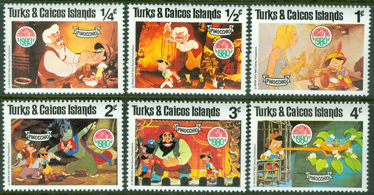 Turks & Caicos Islands - M  503-508 Disney - Pinocchio, 6 ol**