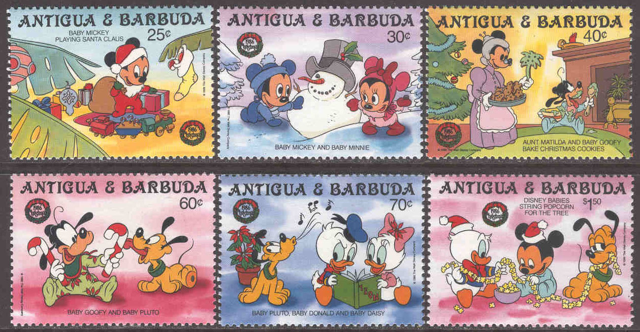 Antigua & Barbuda - M  995-1000 Disneyfigurer firar jul, 6 ol **