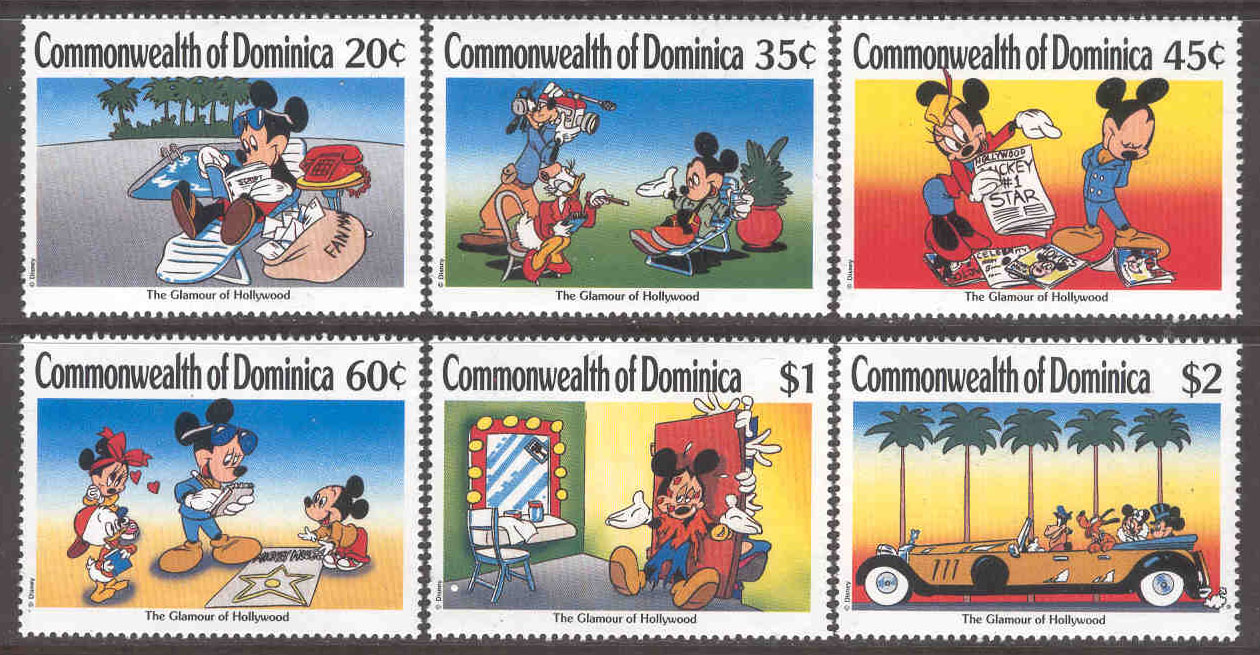 Dominica - M 1268-1273 Hollywood, Disneyfigurer, 6 ol**